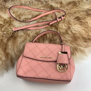 Michael Kors Mini Bag Pink Plaid Gold Crossbody